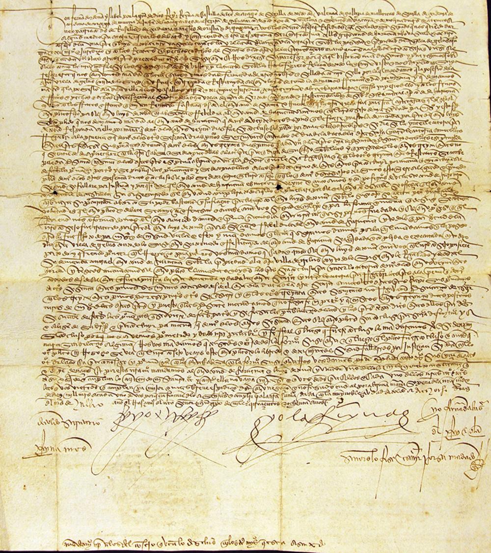 Manuscrito de 1480, firmado por los reyes Isabel de Castilla y Fernando de Aragón.